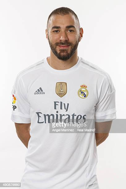 Karim Benzema of Real Madrid poses during the official portrait photocall at Valdebebas training ground on September 28 2015 in Madrid Spain