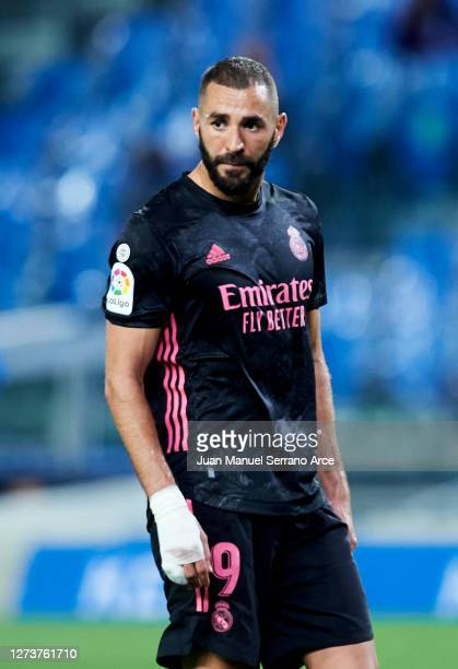Karim Benzema of Real Madrid reacts during the La Liga Santander match between Real Sociedad and Real Madrid at Estadio Anoeta on September 20 2020...