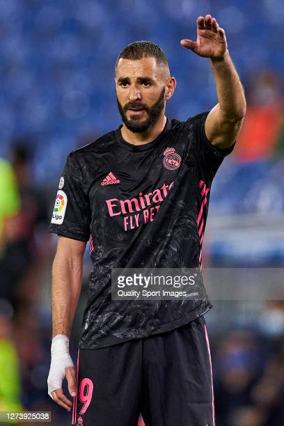 Karim Benzema of Real Madrid reacts during the La Liga Santader match between Real Sociedad and Real Madrid at Estadio Anoeta on September 20 2020 in...