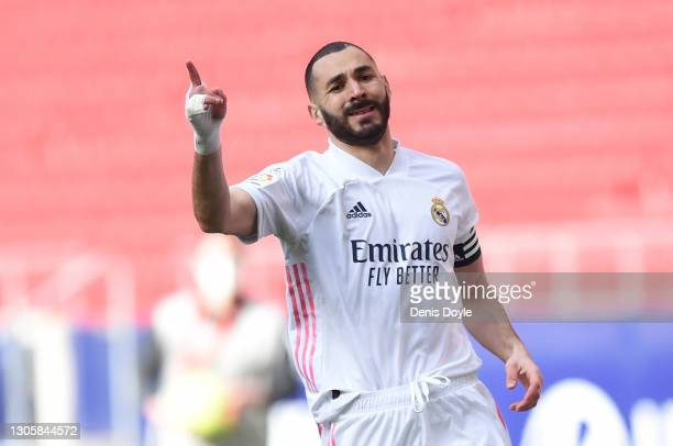 Karim Benzema of Real Madrid reacts during the La Liga Santander match between Atletico de Madrid and Real Madrid at Estadio Wanda Metropolitano on...