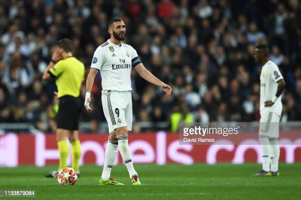 Karim Benzema of Real Madrid reacts during the UEFA Champions League Round of 16 Second Leg match between Real Madrid and Ajax at Bernabeu on March...
