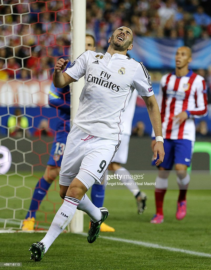 Karim Benzema of Real Madrid reacts during the UEFA Champions League Quarter Final first leg match between Club Atletico de Madrid and Real Madrid CF at Vicente Calderon Stadium on April 14, 2015 in Madrid, Spain.