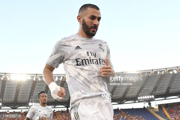Karim Benzema of Real Madrid reacts during the warm up prior to the Mabel Green Cup match between AS Roma and Real Madrid AS Roma won the match and...