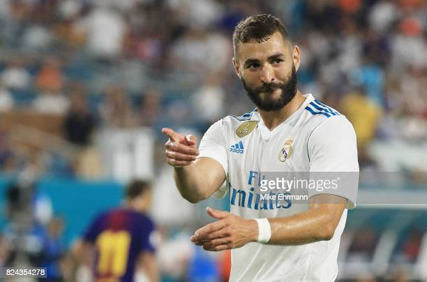 Karim Benzema of Real Madrid reacts in the first half against Barcelona during their International Champions Cup 2017 match at Hard Rock Stadium on...