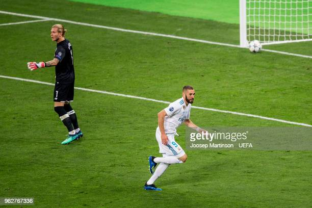 Karim Benzema of Real Madrid scores a goal during the UEFA Champions League final between Real Madrid and Liverpool on May 26 2018 in Kiev Ukraine