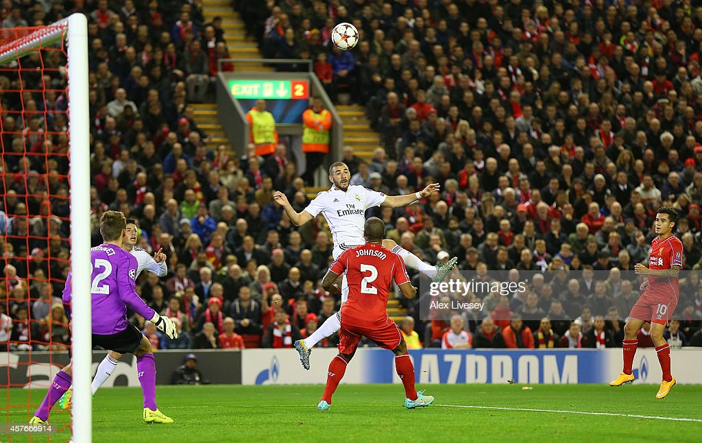 Karim Benzema of Real Madrid scores his team's second goal during the UEFA Champions League Group B match between Liverpool and Real Madrid CF on October 22, 2014 in Liverpool, United Kingdom.
