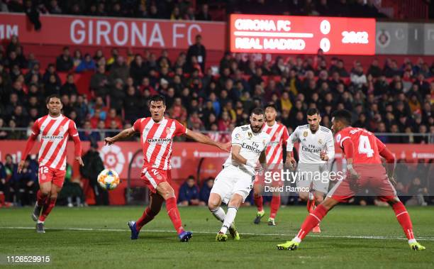 Karim Benzema of Real Madrid scores to make it 10 during the Copa del Quarter Final match between Girona and Real Madrid at Montilivi Stadium on...
