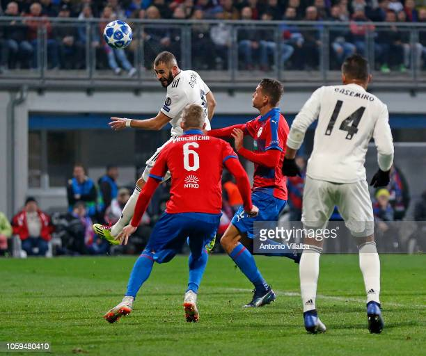 Karim Benzema of Real Madrid scoring the Second goal of his team during the Group G match of the UEFA Champions League between Viktoria Plzen and...