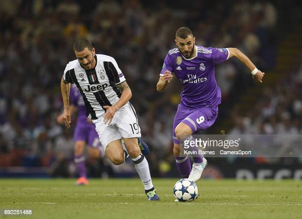 Karim Benzema of Real Madrid under pressure from Leonardo Bonucci of Juventus during the UEFA Champions League Final match between Juventus and Real...