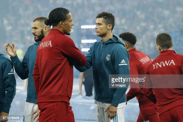 Karim Benzema of Real Madrid Virgil van Dijk of Liverpool FC Cristiano Ronaldo of Real Madrid during the UEFA Champions League final between Real...