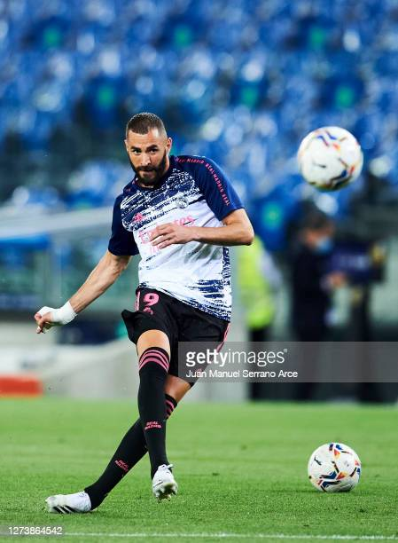 Karim Benzema of Real Madrid warms up during the La Liga Santander match between Real Sociedad and Real Madrid at Estadio Anoeta on September 20 2020...