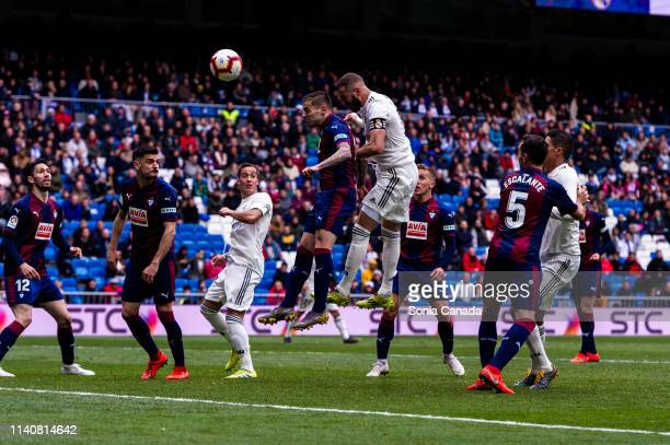 Karim Benzema scores to make it 21 during the La Liga match between Real Madrid CF and SD Eibar at Estadio Santiago Bernabeu on April 06 2019 in...