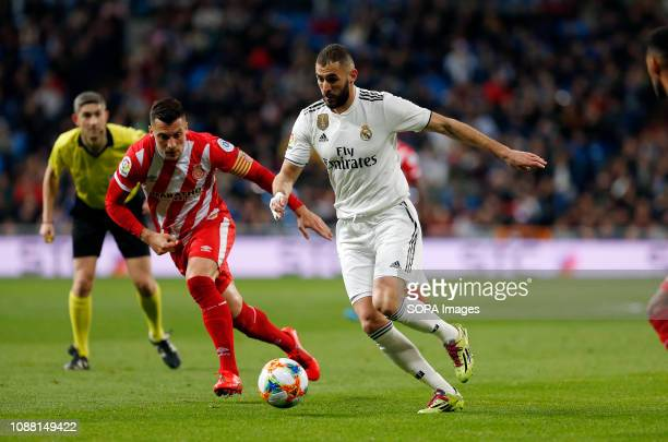 Karim Benzema seen in action during the Copa del Rey Round of quarterfinal first leg match between Real Madrid CF and Girona FC at the Santiago...