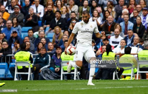 Karim Benzema seen in action during the La Liga match between Real Madrid and Levante UD at Estadio Santiago Bernabéu. .