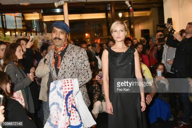 Karim Bonnet fashion designer of Impasse De la Defense and model Agata Suduiko attend the Impasse De La Defense Show At Galerie 59 Rue de Rivoli on...