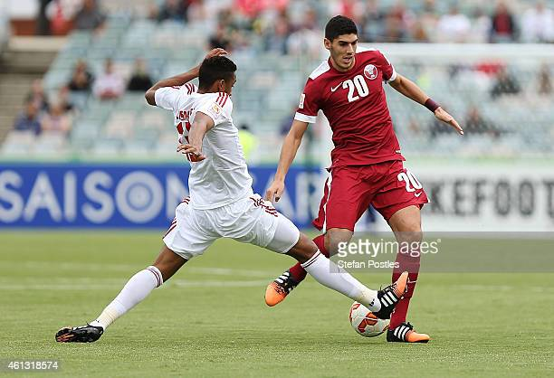 Karim Boudiaf of Qatar in action during the 2015 Asian Cup match between the United Arab Emirates and Qatar at Canberra Stadium on January 11 2015 in...