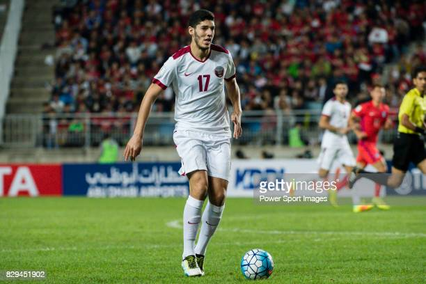 Karim Boudiaf of Qatar in action during the 2018 FIFA World Cup Russia Asian Qualifiers Final Qualification Round Group A match between Korea...