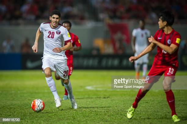 Karim Boudiaf runs with the ball during the Hong Kong vs Qatar match part of the FIFA World Cup Qualifiers 2015 on September 08 2015 at the Mong Kok...