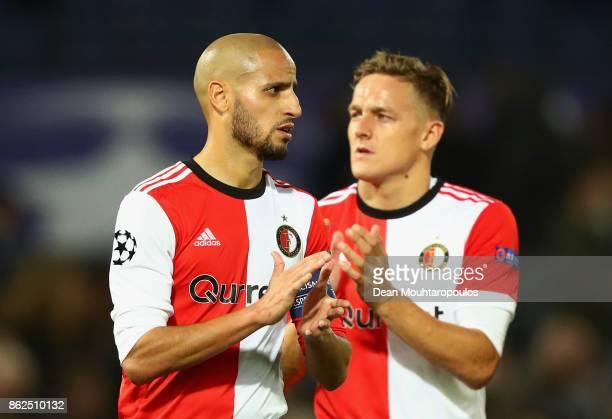 Karim El Ahmadi of Feyenoord and Jens Toornstra of Feyenoord show dissapointment after the UEFA Champions League group F match between Feyenoord and...