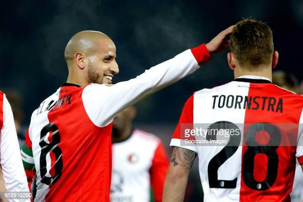 Karim El Ahmadi of Feyenoord celebrates 30 with Jens Toornstra of Feyenoord during the Dutch Eredivisie match between Feyenoord v FC Groningen at the...