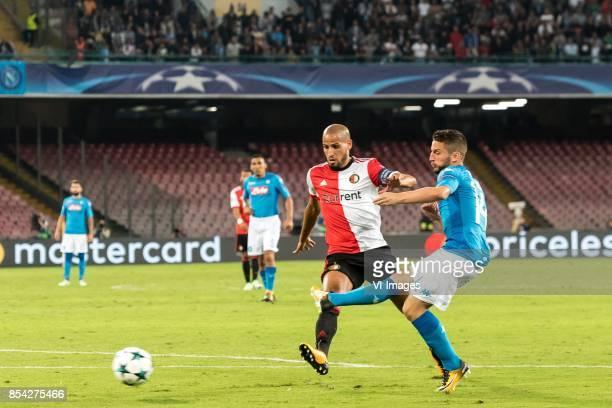 Karim El Ahmadi of Feyenoord Dries Mertens of SSC Napoli during the UEFA Champions League group F match between SSC Napoli and Feyenoord Rotterdam on...