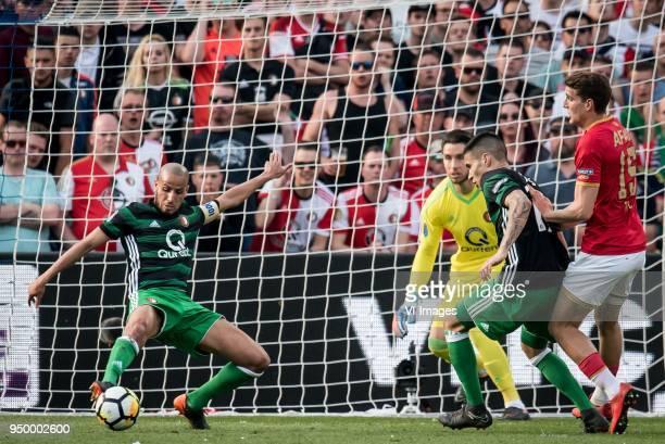 Karim El Ahmadi of Feyenoord goalkeeper Brad Jones of Feyenoord Kevin Diks of Feyenoord Guus Til of AZ during the Dutch Toto KNVB Cup Final match...