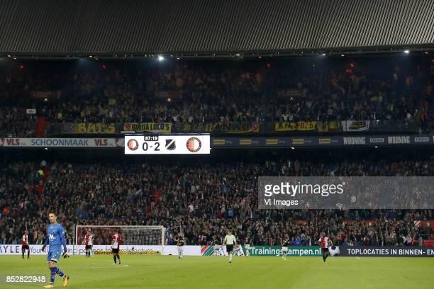 Karim El Ahmadi of Feyenoord goalkeeper Mark Birighitti of NAC Breda keeper Brad Jones of Feyenoord JanArie van der Heijden of Feyenoord Tonny...
