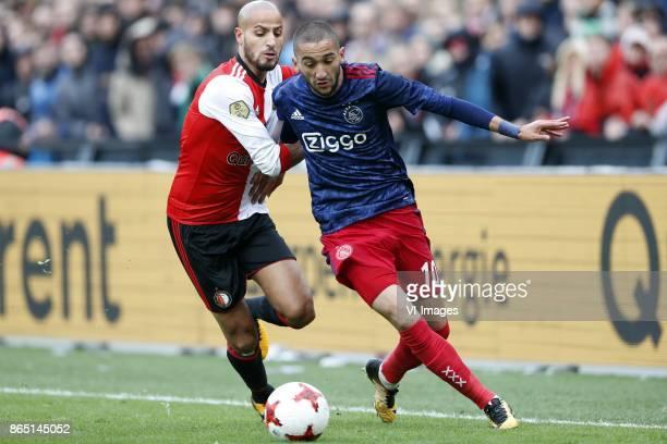 Karim El Ahmadi of Feyenoord Hakim Ziyech of Ajax during the Dutch Eredivisie match between Feyenoord Rotterdam and Ajax Amsterdam at the Kuip on...