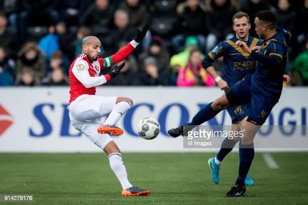 Karim El Ahmadi of Feyenoord Johnatan Opoku of VVV during the Dutch Eredivisie match between VVV Venlo and Feyenoord Rotterdam at Seacon stadium De...