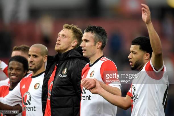 Karim El Ahmadi of Feyenoord Nicolai Jorgensen of Feyenoord Robin van Persie of Feyenoord Tonny Vilhena of Feyenoord celebrates the victory during...
