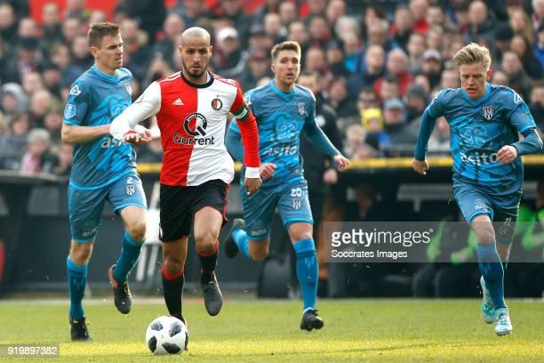 Karim El Ahmadi of Feyenoord Sebastian Jakubiak of Heracles Almelo during the Dutch Eredivisie match between Feyenoord v Heracles Almelo at the...