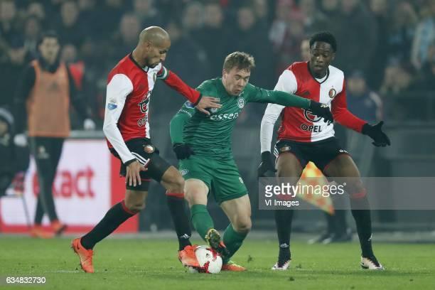 Karim El Ahmadi of Feyenoord Simon Tibbling of FC Groningen Terence Kongolo of Feyenoordduring the Dutch Eredivisie match between Feyenoord Rotterdam...
