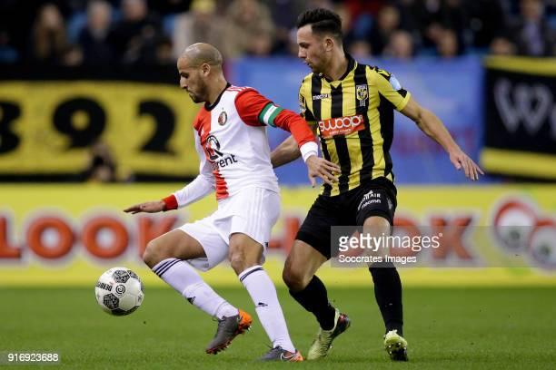 Karim El Ahmadi of Feyenoord Thomas Bruns of Vitesse during the Dutch Eredivisie match between Vitesse v Feyenoord at the GelreDome on February 11...
