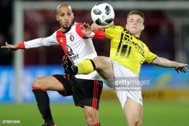 Karim El Ahmadi of Feyenoord Vito van Crooij of VVV Venlo during the Dutch Eredivisie match between Feyenoord v VVVVenlo at the Stadium Feijenoord on...