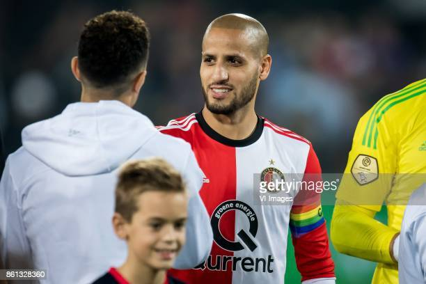 Karim El Ahmadi of Feyenoord with rainbow captaincy during the Dutch Eredivisie match between Feyenoord Rotterdam and PEC Zwolle at the Kuip on...