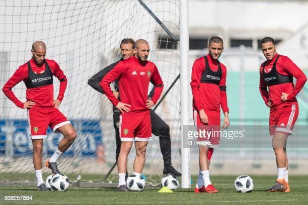 Karim El Ahmadi of Morocco coach Herve Renard of Morocco Nordin Amrabat of Morocco Hakim Ziyech of Morocco Sofyan Amrabat of Morocco during a...