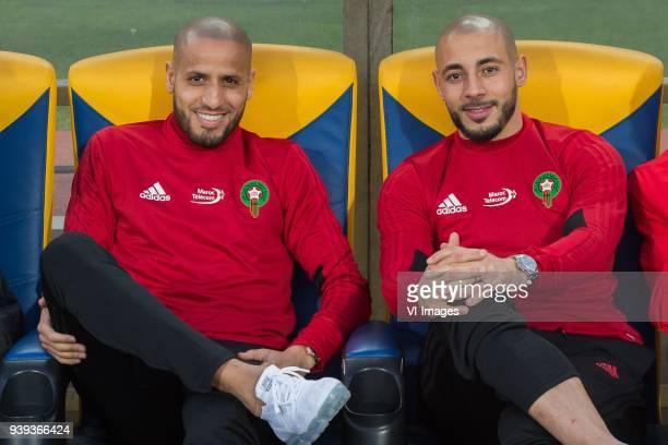 Karim El Ahmadi of Morocco Nordin Amrabat of Morocco during the international friendly match between Morocco and Uzbekistan at the Stade Mohammed V...