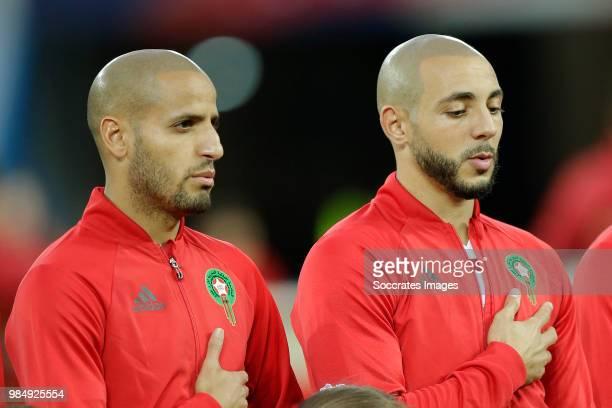 Karim El Ahmadi of Morocco Nordin Amrabat of Morocco during the World Cup match between Spain v Morocco at the Kaliningrad Stadium on June 25 2018 in...