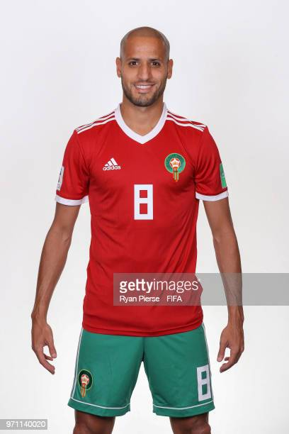 Karim El Ahmadi of Morocco poses during the official FIFA World Cup 2018 portrait session on June 10 2018 in Voronezh Russia