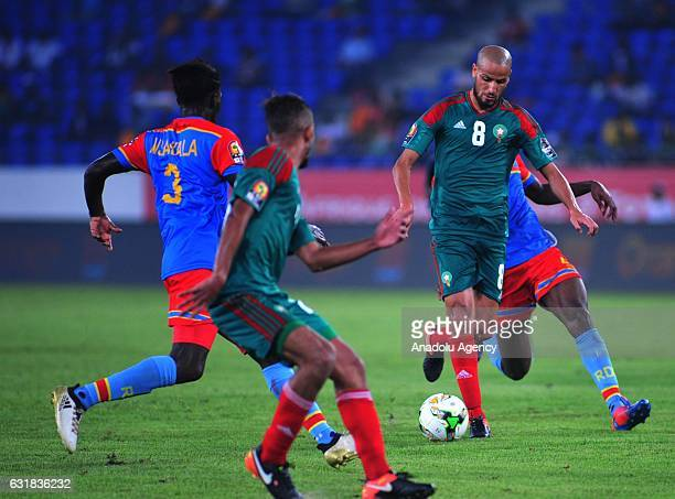 Karim El Ahmadi of Morocco vies for the ball against Fabrice N'Sakala of DR Congo during the African Cup of Nations 2017 Group C match between DR...