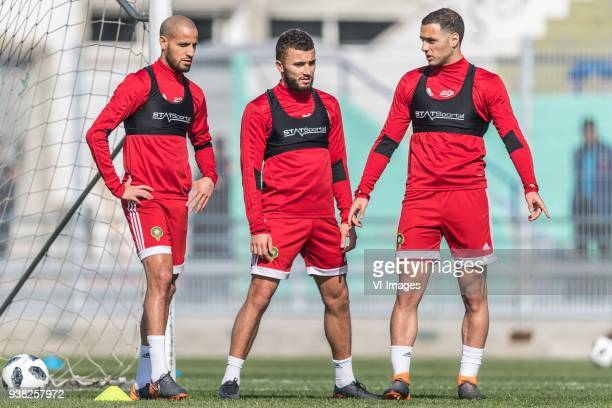 Karim El Ahmadi of Morocco Zakaria Labyad of Morocco Sofyan Amrabat of Morocco during a training session prior to the International friendly match...