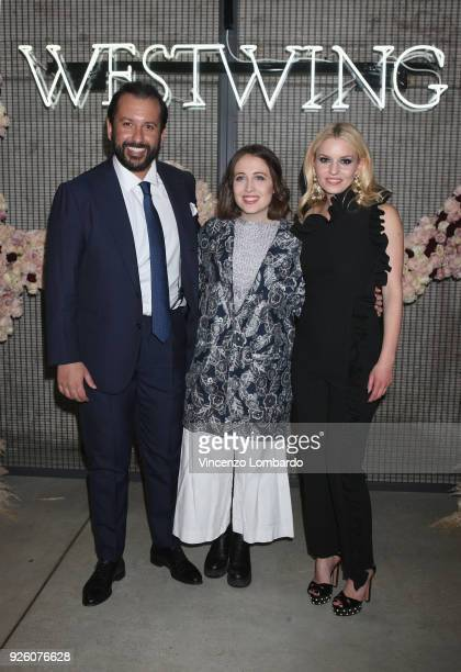 Karim El Saket Alice Merton and Delia Fischer attend the 'Westwing' launch party on March 1 2018 in Milan Italy