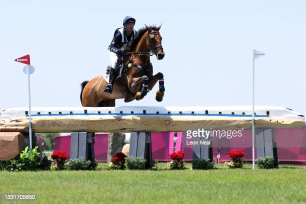 Karim Florent Laghouag of Team France riding Triton Fontaine clears a jump during the Eventing Cross Country Team and Individual on day nine of the...