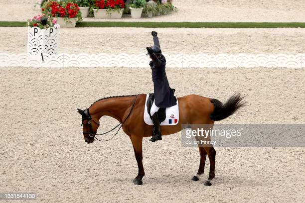 Karim Florent Laghouag of Team France riding Triton Fontaine competes in the Eventing Dressage Team and Individual Day 2 - Session 3 on day eight of...