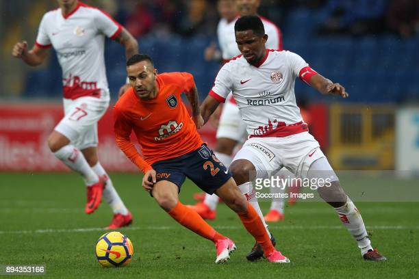 Karim Frei of Istanbul Basaksehir Samuel Eto o of Antalyaspor during the Turkish Super lig match between Istanbul Basaksehir v Antalyaspor at the...