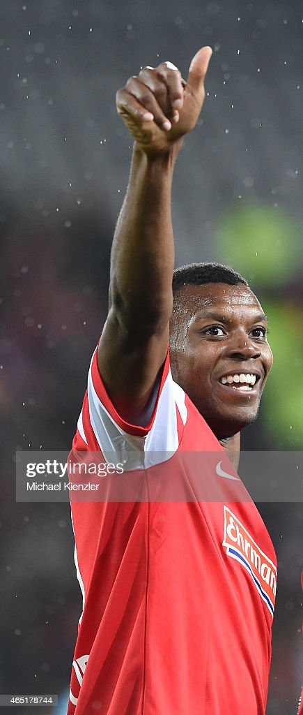 Karim Guede of SC Freiburg celebrates after the DFB Cup between SC Freiburg and 1. FC Koeln at Schwarzwald-Stadium on March 3, 2015 in Freiburg, Germany.