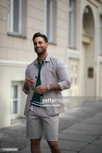 Karim Guenes wearing Asos shirt, Diesel pants and Wrangler jacket on June 10, 2020 in Berlin, Germany.