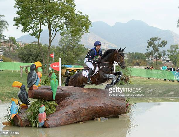 Karim Laghouag of France riding Entebbe during the Cross Country Eventing on Day 3 of the Rio 2016 Olympic Games at the Olympic Equestrian Centre on...