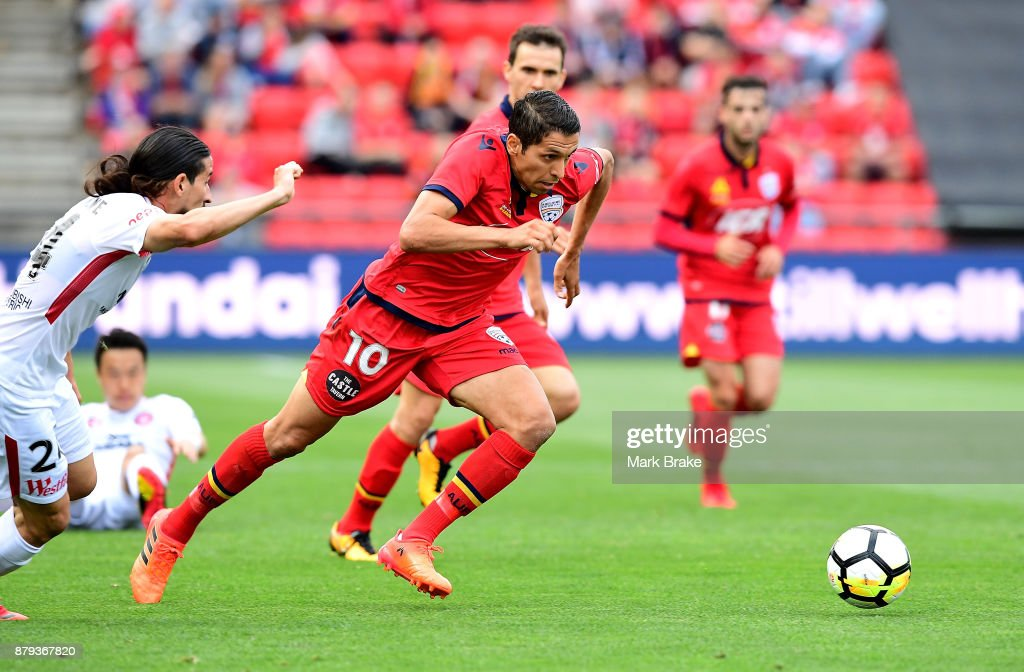 Karim Matmour of Adelaide United during the round eight A-League match between Adelaide United and the Western Sydney Wanderers at Coopers Stadium on November 26, 2017 in Adelaide, Australia.