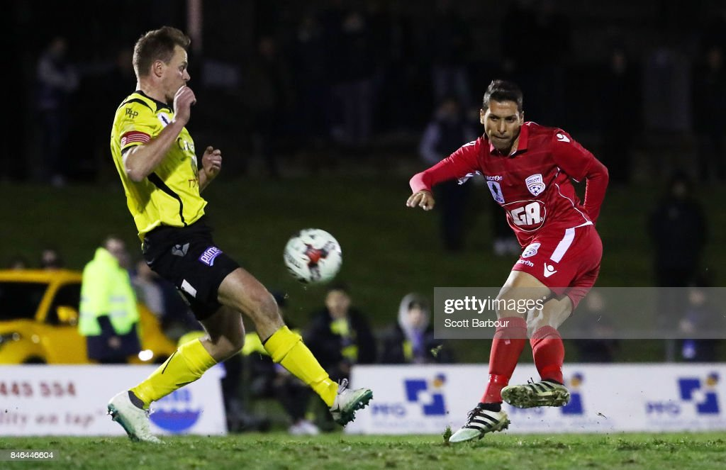 Karim Matmour of Adelaide United has a shot on goal which hits the post during the FFA Cup Quarter Final match between Heidelberg United FC and Adelaide United at Olympic Village on September 13, 2017 in Melbourne, Australia.